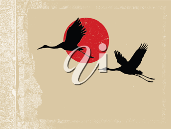 Royalty Free Clipart Image of Flying Cranes