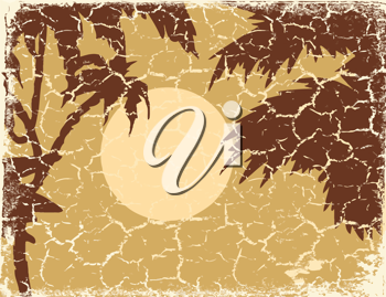 Royalty Free Clipart Image of a Tropical Landscape