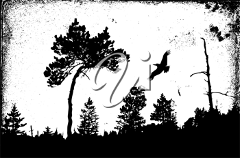 Royalty Free Clipart Image of a Bird Flying by a Tree