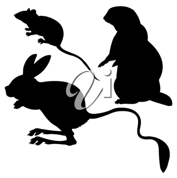 Royalty Free Clipart Image of Animal Silhouettes