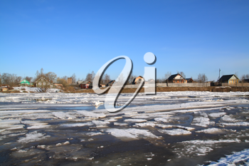 driving of ice on river near villages