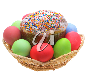 Easter cake, Easter eggs on a white background.