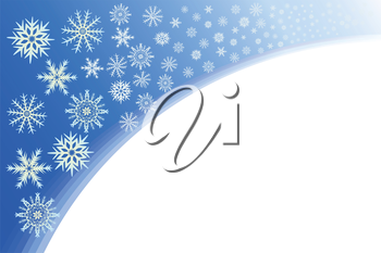 Snowflakes on a blue background, file EPS.8 illustration.