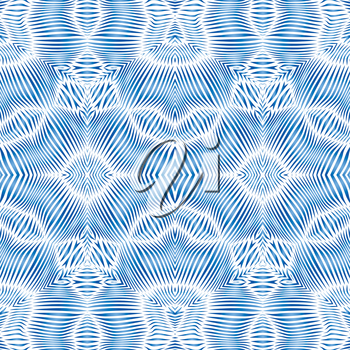 Striped blue waves geometric seamless ornament , EPS8 - vector graphics.