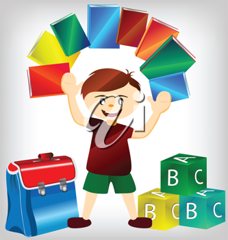 Royalty Free Clipart Image of a Book With Books