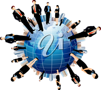 Royalty Free Clipart Image of a Business Team on a Globe