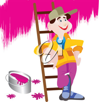 Royalty Free Clipart Image of a Painter