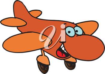 Royalty Free Clipart Image of a Cartoon Airplane