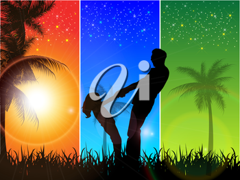 Royalty Free Clipart Image of a Father and Daughter Against a Tri-Coloured Tropical Background