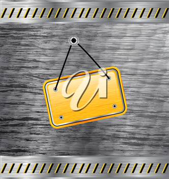 Royalty Free Clipart Image of a Metal Texture With a Tag