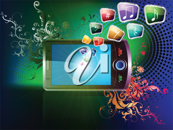 Royalty Free Clipart Image of a Cellphone and Icons