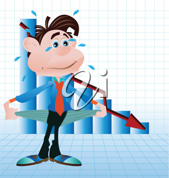 Royalty Free Clipart Image of a Broke Man in Front of a Graph