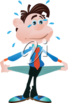 Royalty Free Clipart Image of a Man With Empty Pockets