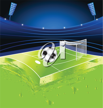 Royalty Free Clipart Image of a Soccer Ball and Field