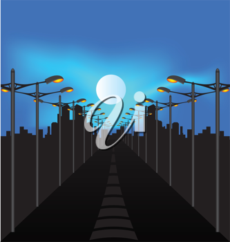 Royalty Free Clipart Image of a Road and Streetlights at Night