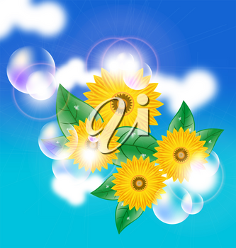 Royalty Free Clipart Image of Flowers and Bubbles on a Blue Background