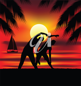 Royalty Free Clipart Image of Silhouettes Stretching on a Beach