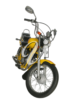 Yellow motorcycle isolated on white background