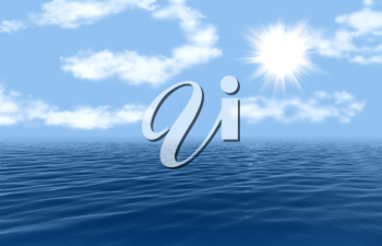 Royalty Free Clipart Image of Water and Sky