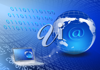 Royalty Free Clipart Image of a Globe and a Computer on a Background