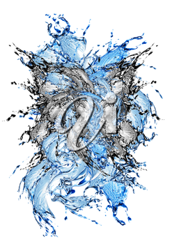 Royalty Free Clipart Image of a Water Splash With Black