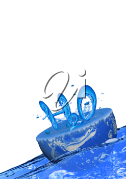 Royalty Free Clipart Image of H2O on a Block