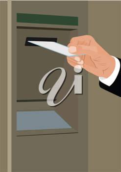 Royalty Free Clipart Image of a Man at an ATM