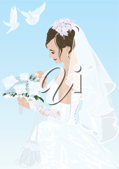 Royalty Free Clipart Image of a Bride Holding a Bouquet