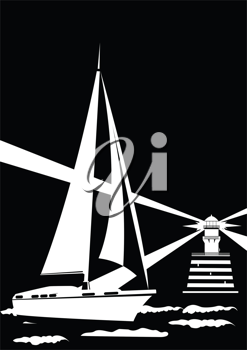 Royalty Free Clipart Image of a Lighthouse and Yacht