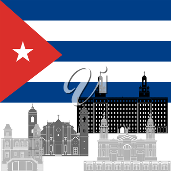 The national flag of the Cuba and the contour image of architectural landmarks of this country. Illustration on white background.