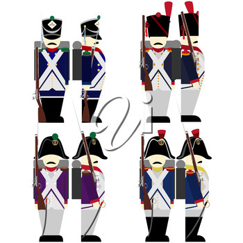 French Army soldiers in uniforms and weapons were used in the 1812 war. The illustration on a white background.