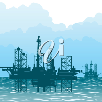 Seascape and oil platforms. Mining and quarrying.