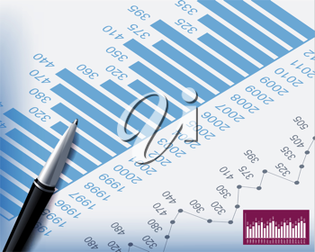 Royalty Free Clipart Image of a Business Background of Graphs and Charts with a Pen