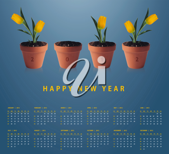 Royalty Free Photo of a 2012 Calendar With Four Potted Plants. Three of The Plants Have Tulips