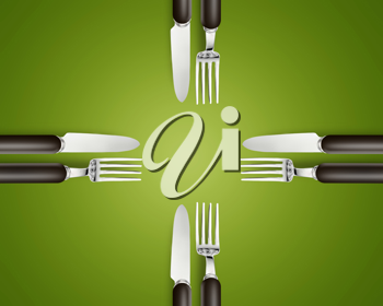 Royalty Free Photo of Four Sets of Forks and Knives