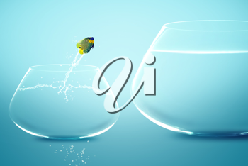 Royalty Free Photo of an Angelfish Jumping into a Larger Fishbowl