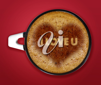 Royalty Free Photo of a Cup of Cappucino With the Words I Love You Written Inside of a Heart Icon Inside the Foam at the Top of the Coffee