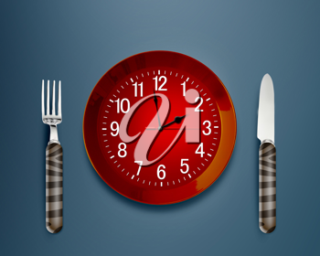 Royalty Free Photo of a Plate Made into a Clock With a Fork and Knife on a Blue Background