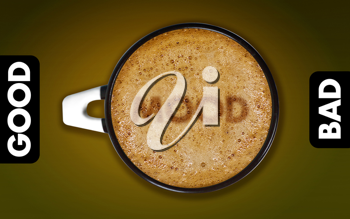 Royalty Free Photo of a Cup of Cappucino in Between a Good and Bad rating scale With the Word Mood in the Coffee