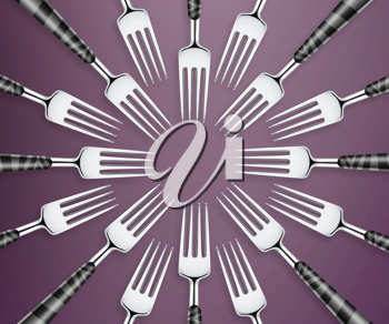 Royalty Free Photo of an Abstract Design of Forks Facing Each Other Making a circle Center