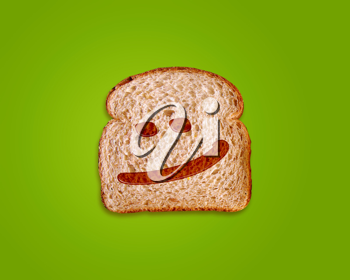 toasted bread slice with smile sign on green made by honey background.