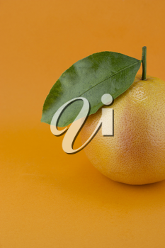 Ripe appetizing grapefruit with leaf on orange background.