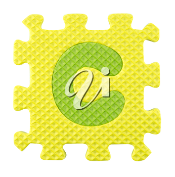 Royalty Free Photo of a C in a Foam Puzzle