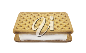 Vanilla and cookie ice cream sandwich bar on white background.