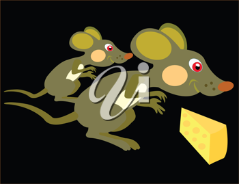 Royalty Free Clipart Image of Two Mice With Cheese