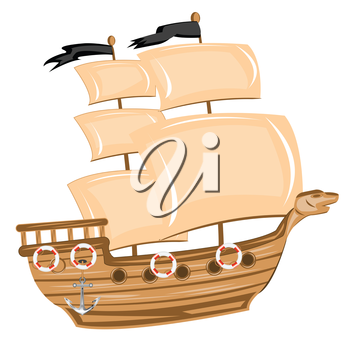 Illustration pirate ship on white background is insulated