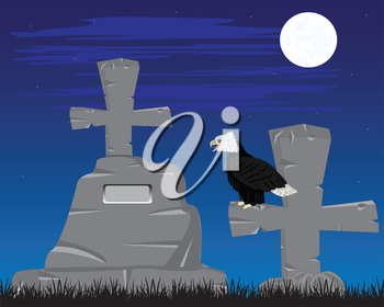Vector illustration graveyard with grave in the night