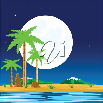 Tropical coast with palm in the night