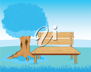 Vector illustration of the bench from tree in park in winter