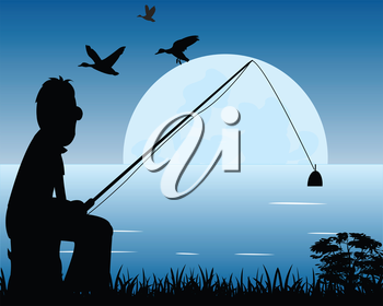 Silhouette of the fisherman on river moon in the night